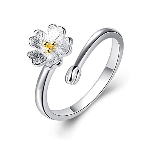 Fashion Women Opening Ring Adjustable Flower Finger Ring Sakura Silver Sterling Tail Ring Charm Jewelry Gift by SamGreatWorld