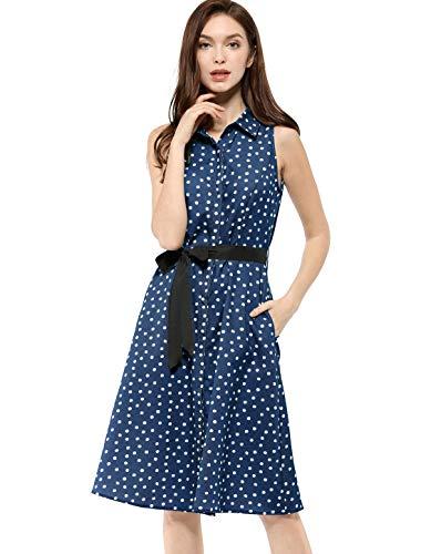 Dotted Sleeveless Dress - Allegra K Women's Sleeveless Polka Dot Midi Shirt Dress XS Dark Blue