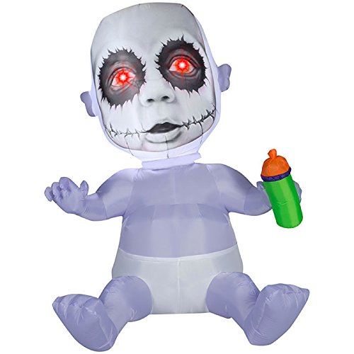 Gemmy Airblown Inflatable Animated Photorealistic Creepy Baby with Red Eyes Holding a Bottle - Holiday Decoration, 5.5-foot (Broken Doll Faces For Halloween)