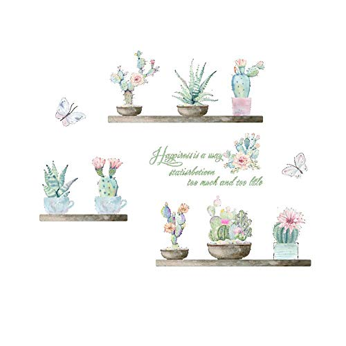 AWAKINK Cartoon Cactus Pot Green Colorful Plants Butterflies Pastoral Style Wall Stickers Wall Decal Vinyl Removable Art Wall Decals for Bedroom Living Room Nursery Room Childrens Bedroom