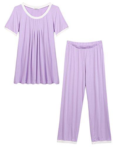 Ekouaer Women's Cotton Sleepwear Short Sleeve Pajamas Sets With Pants (Purple XL) (Purple Sleep Pant)