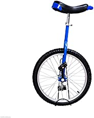 Soozier 20 Inch Unicycle Wheel Free Stand Chrome Uni-Bicycle Cycling Exercise Blue