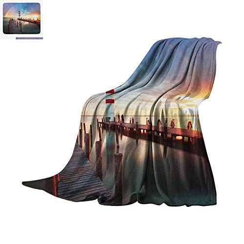 Lighthouse Throw Blanket Sunset at Seaside Wooden Docks Lighthouse Clouds Rainbow Waterfront Reflection Print Artwork Image 50