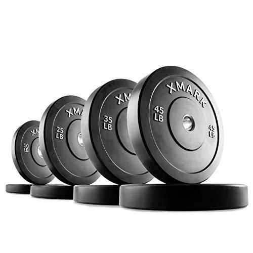XMark 230 lb Set Premium Bumper Plates, Three-Year Warranty, Low Bounce Olympic Bumper Weight Plates, XM-3385