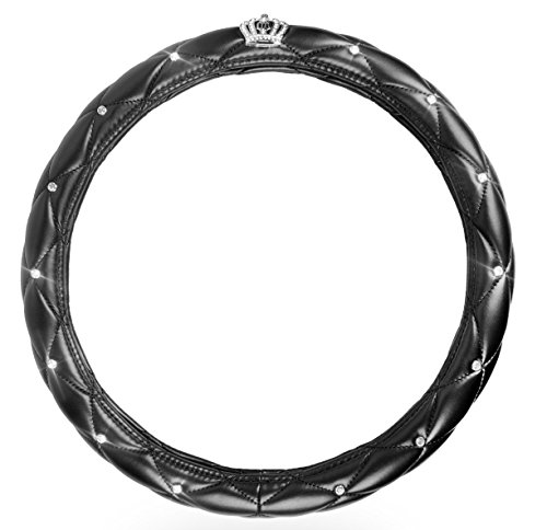 "Sino Banyan Steering Wheel Cover,PU Leather with Crystal Crown Diamond,15"",Black"
