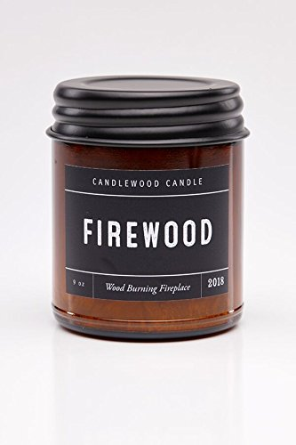 FIREWOOD - Crackling Wood Burning Fireplace Candle in Amber Jar with Black Lid 9 oz - Simply like no others.Jan 2019 Original Wood Wicks are Back!
