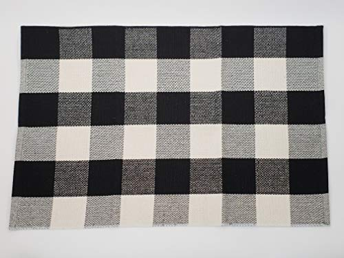 Niceties Black and White Buffalo Checkered Plaid Woven Indoor Washable Carpet Rug 2'x3'