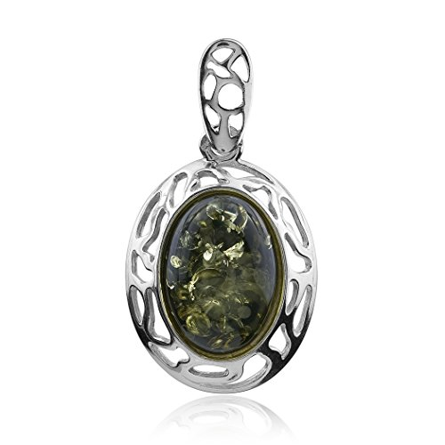 - Ian and Valeri Co. Green Amber Sterling Silver Oval Pendant