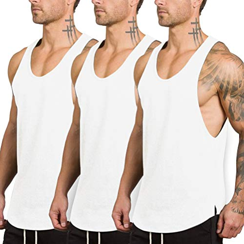 LUODITO 3 Pack Men's Stringers Bodybuilding Tank Tops Gym Workout Sleeveless Muscle Shirts Fitness Vest