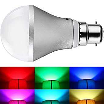 JnDee Dimmable RGB 5W B22 Colour Changing LED Light Bulb with IR Remote Control , Wall Switch ...