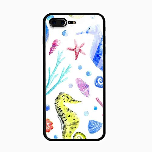 Horse Rectangle Magnet - Color Seahorse Case Compatible for iPhone 8 Plus (iPhone 10), Shock-Absorption Bumper Cover, Anti-Scratch Clear Tempered Glass Back