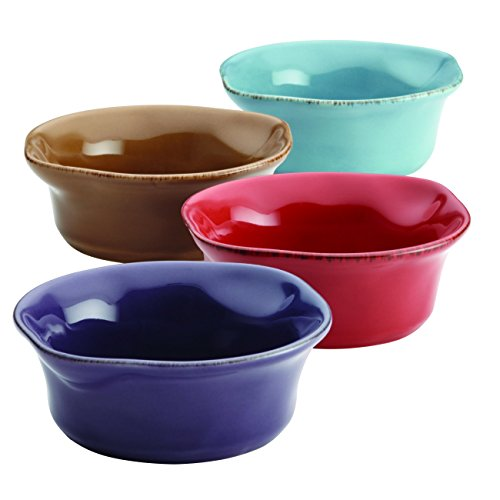Rachael Ray 46629 4 Piece Cucina Stoneware Dipping Cup Set, Small, Assorted