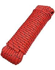 Touw 8 mm 20 m - polypropyleen touw PP, vastmakerslijn, multifunctioneel touw, breien, tuintouw, outdoor - breukbelasting: 700kg, 20m x 8mm rood-zwart