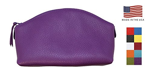 Purple Genuine Leather Cosmetic Bag - Colorado Collection - Made in USA by Real Leather Creations Factory Direct - Gift Box - Prime Quality Gifts for Her FBA658