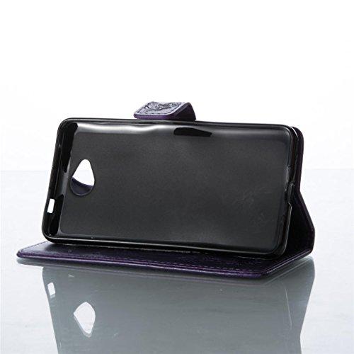 Erdong® Magnético Folio Flip Caso Con pata de cabra titular de la tarjeta Para Microsoft Lumia 650, Elegant Simple Book-style [Púrpura flor de mariposa] patrón de impresión cuero del soporte Folio Pou