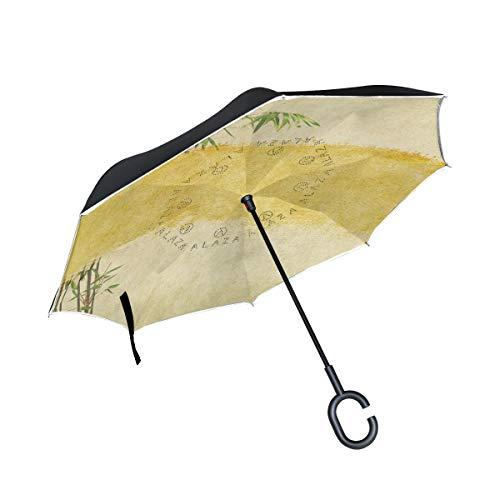 - senya Double Layer Inverted Umbrella Vintage Japanese Bamboo Leaves Reverse Folding Umbrella C Shape Handle Car Travel Golf Umbrella
