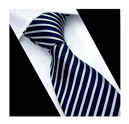 Mens Deep Navy Blue White Extra Long Woven Silk Work Dress Ties Fashion Neckties