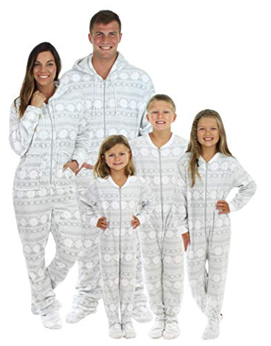 SleepytimePjs Family Matching Grey Snowflake Onesie PJs Footed Pajamas Women's Grey Snowflake