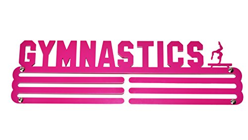 (Gymnastics Medal Display - Gymnastics Medal Holder/Hanger - Stainless Steel/Painted Steel - 3 Hang Bars (Pink Painted))