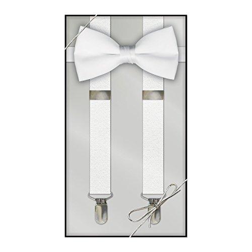 Suspender & Bow Tie Set (Adult, White) - White Tuxedo Bow Tie