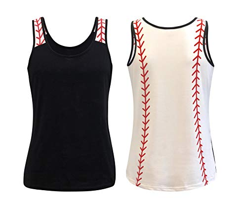 ILTEX Sports Tank Tops for Mom Fans Apparel Baseball Softball Basketball Soccer Volleyball (Baseball Black, 3X-Large)