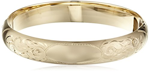 14k Gold Filled Bracelet (14k Gold-Filled Engraved Hinged Bangle Bracelet)