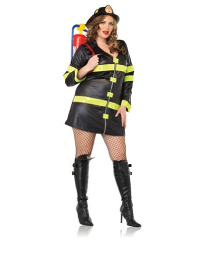 Fire Woman Adult Costume - Plus Size (Couples Firefighter Costumes)