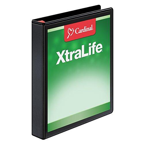 Cardinal XtraLife ClearVue Non-Stick Locking Slant-D Ring Binder, 1-Inch, Black (CRD26301)