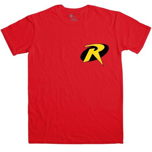 Funny Batman And Robin Costumes (Mens Superhero T Shirt - Boy Wonder - Red - Large)