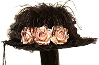 Victorian Style Hats, Bonnets, Caps, Patterns Ostrich Plume Black Victorian Touring Hat $74.00 AT vintagedancer.com