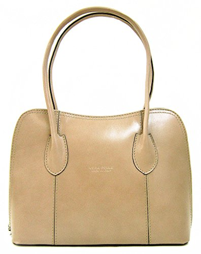 Or Classic Shoulder Shiny Taupe Style Light Grab Smooth Bag Leather Italian Tote Cf7xw8nztq