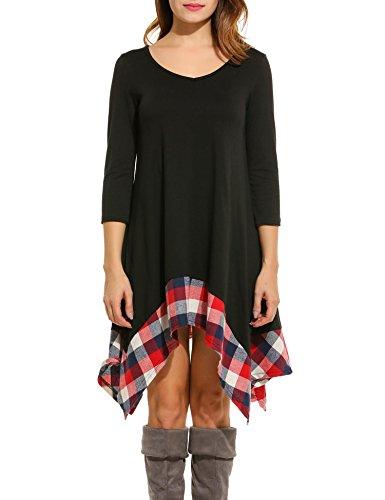 Tuniques Pour Les Femmes Cindere Taille Plus Robe Noire Tunique Ourlet Irrégulière Mini-robes Robe Jaune