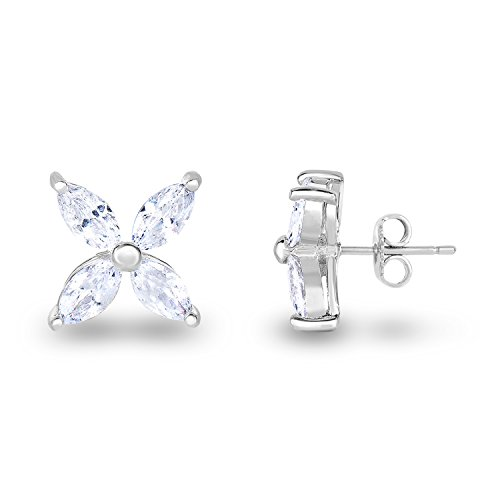 Spoil Cupid Rhodium Plated 925 Sterling Silver Cubic Zirconia Marquise Shape Flower Petals Stud Earrings (Marquise Cubic Stud Zirconia)