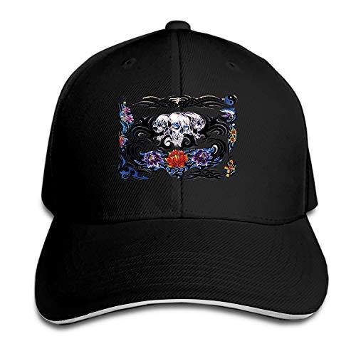 Baseball Cap Color Tattoo Dad Hat Peaked Flat Trucker Hats Adjustable for Men - Trucker Couture Hat