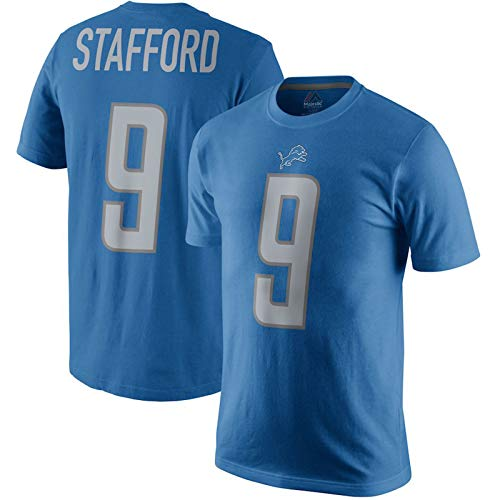 Majestic Athletic Mens Matthew Stafford Detroit Lions Player Pride Name & Number T-Shirt - Blue (M)