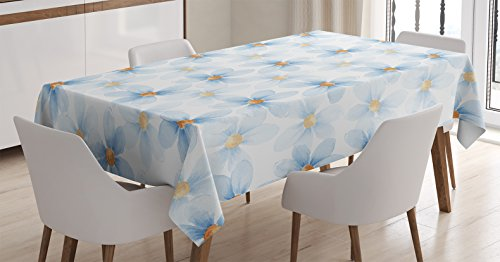 Watercolor Flower Tablecloth by Ambesonne, Pastel Floral Pattern Print Chamomiles and Daisies Nature Art, Dining Room Kitchen Rectangular Table Cover, 60 W X 90 L Inches, Blue Yellow White