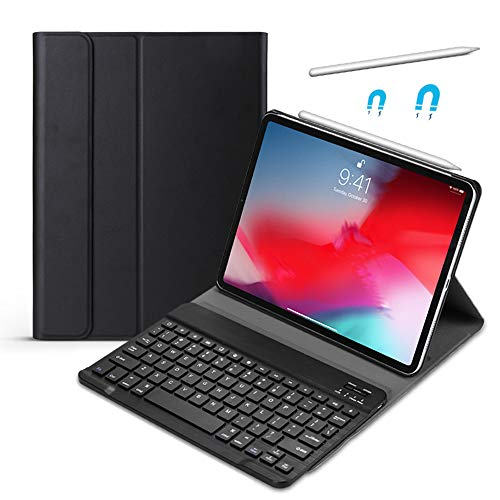 ipad Case Compatible for Ipad Pro 11 Inch 2018 Stand Cover Case with Removable Wireless Smart Keyboard Magnetic PU Leather Pencil Charging Supported Black