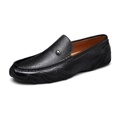 Eastlion Men's Leather Boat Shoes Loafer Slip On Deck Shoes for Casual and Work Black