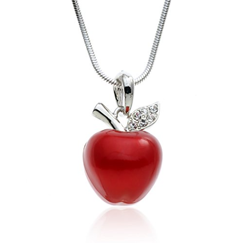 PammyJ Candy Red Apple Silvertone Pendant Necklace, 18""