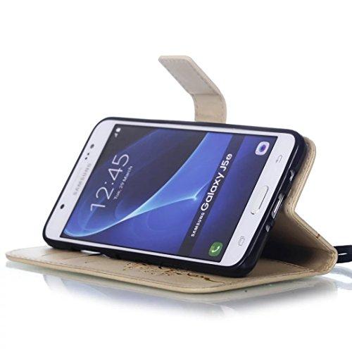 SRY-Funda móvil Samsung Funda de piel para Samsung J5 (2016) Funda de piel sintética Funda de piel sintética para Samsung J5 (2016) ( Color : Black , Size : Samsung J5 ) Gold