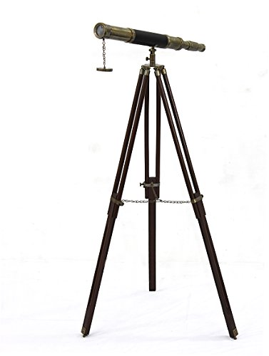 Sailor Boat Antique Telescope Black Leather Wooden Stand Marine Royal Telescopes