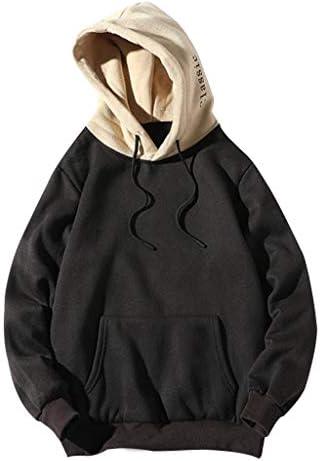パーカー 男性と女性 長袖 無地 原宿風 tシャツ フード付き ゆったり おしゃれ おおきいサイズ ポケットコート付きスウェットシャツ (黒, XL)