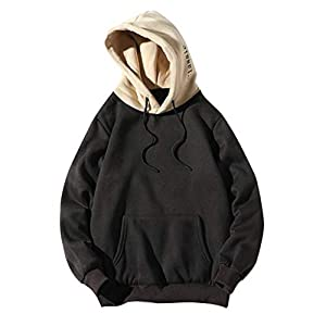 Asibeiul Men Casual Patchwork Hooded Top Blouse Sweatshirt with Pockets Coat Autumn Drawstring Hoodie Fashion Letters Black