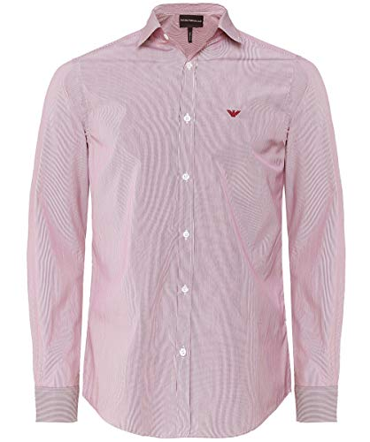 Armani Men's Poplin Cotton Striped Shirt Red L ()