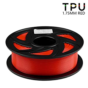 3d printing filament 1.75mm, flexible tpu 1kg(2.2lbs) filament, used for 3d printer and 3d printing pen, multiple colors (color : red)