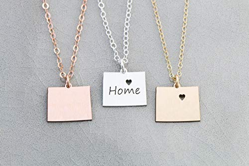 Colorado State Necklace - IBD - Personalize with Name or Coordinates – Choose Chain Length – Pendant Size Options - Ships in 1 Business Day - 935 Sterling Silver 14K Rose Gold Filled Charm (Colorado Charm Rockies)