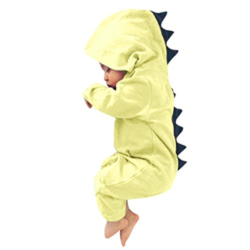 FEITONG Newborn Baby Boy Girl Dinosaur Hooded Romper Jumpsuit Outfits Clothes (12Months, Yellow)