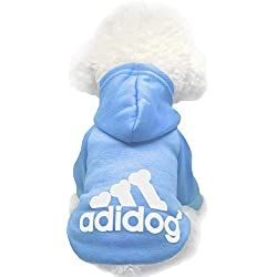 Moolecole Adidog Pet Dog Hooded Clothes Apparel Puppy Cat Warm Hoodies Coat Sweater for Small Dogs(L, Light Blue)