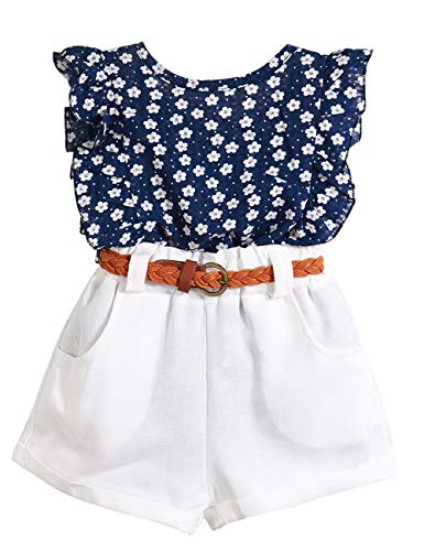 Toddler Girl Outfits Floral Ruffle T-Shirt Vest Tops and Shorts Pants Clothes Sets 4-5T]()