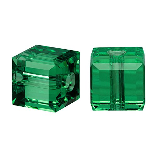 Swarovski Crystal, #5601 Cube Beads 6mm, 4 Pieces, Emerald ()